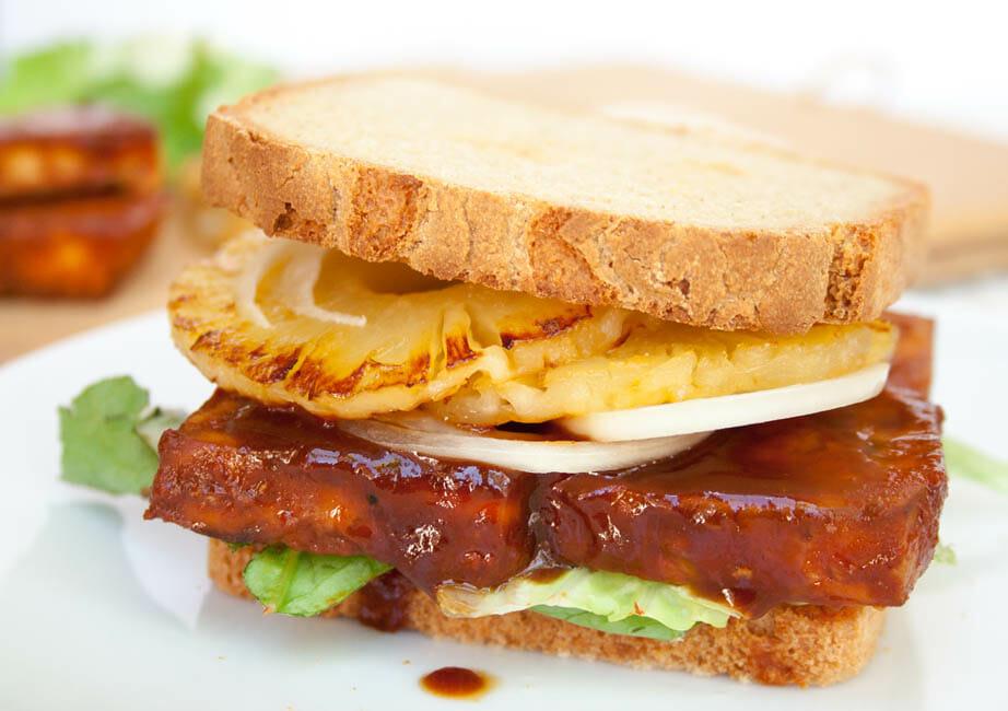 Baked BBQ Tofu Sandwich close up