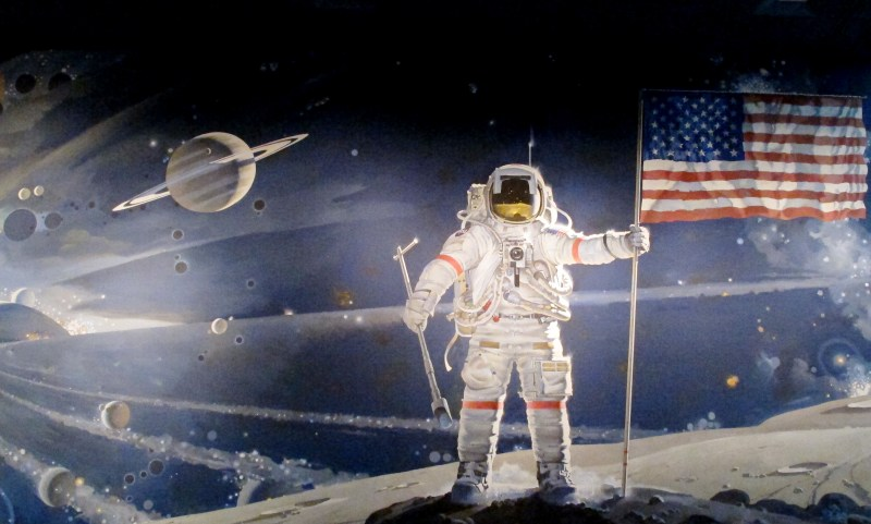 Mural of Astronaut holding American Flag on moon