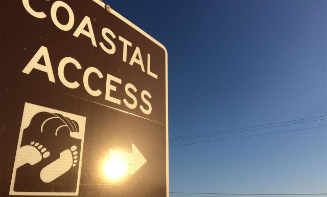 "Signage with text ""Coastal Access"" and symbol of feet near a wave with an arrow with the blue sky in the background."