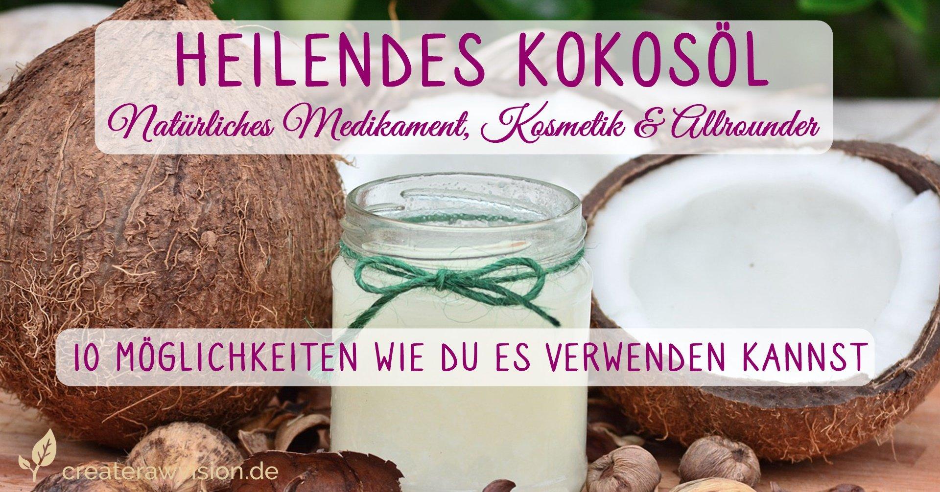 Kokoöl im Glas und Kokosnüsse
