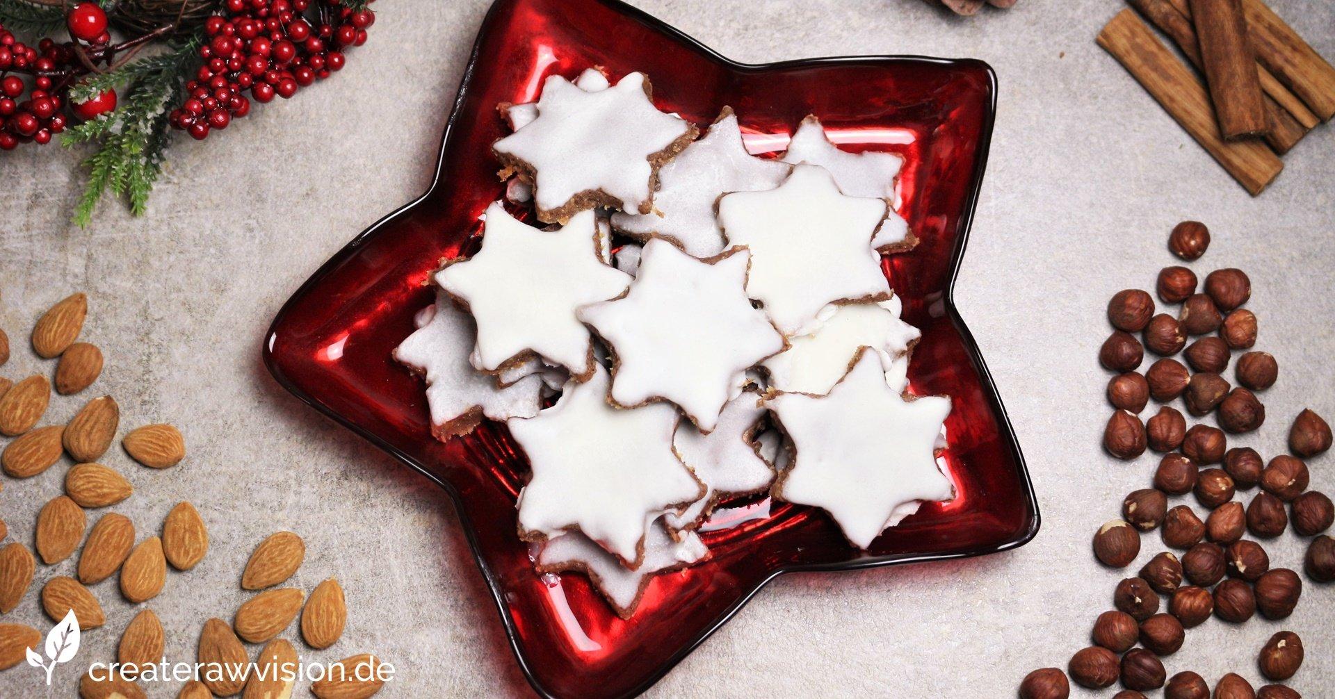 Weihnachtliche Rohkost Zimtsterne - Glutenfrei, Roh & Vegan