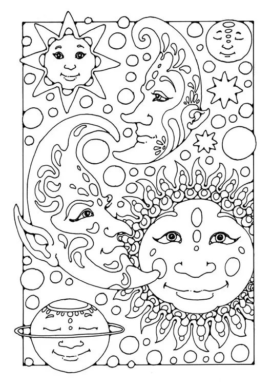 Adult coloring page with sun moon and stars