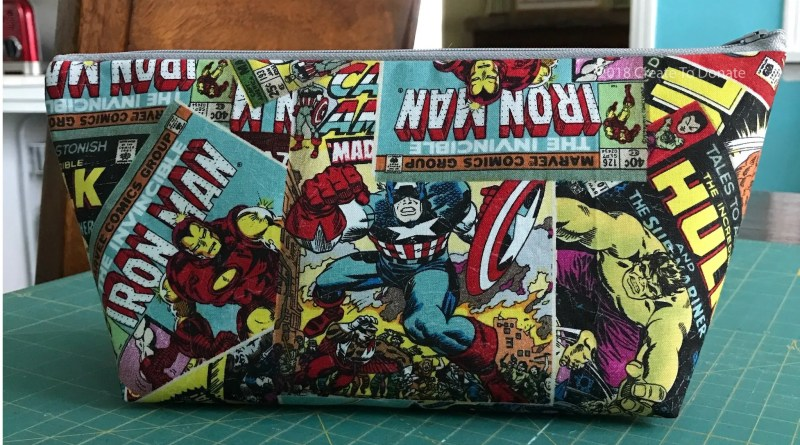 Simple toiletry bag made from comic book fabric