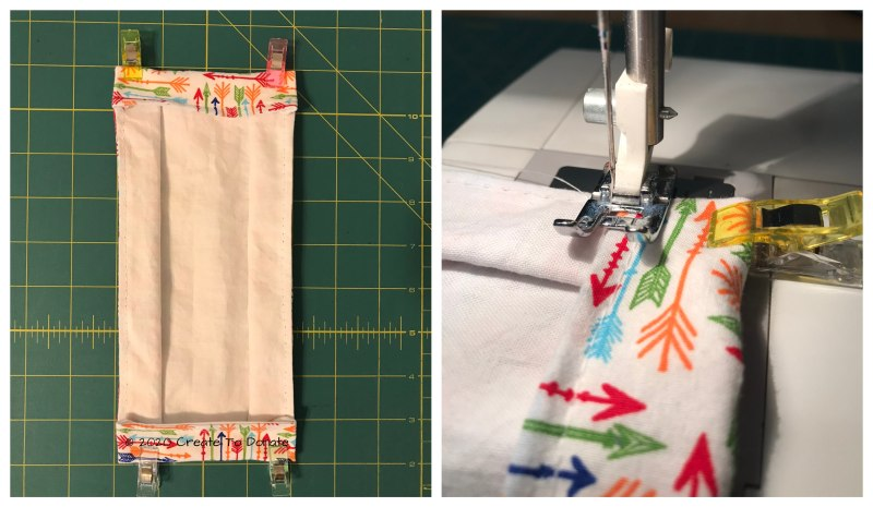 Sew the fabric face mask side channels