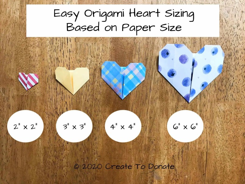 Easy origami heart size based on paper size