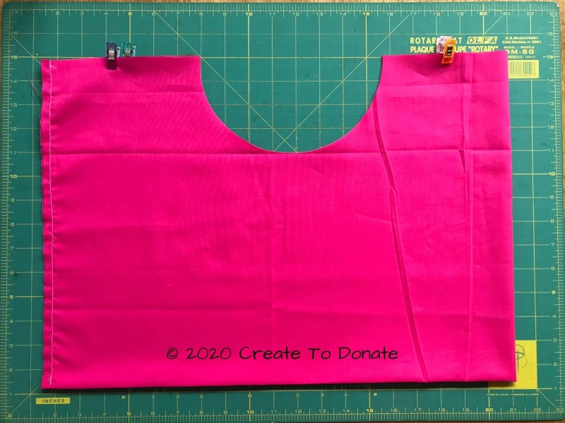 Cut out divot using double mastectomy pillow pattern