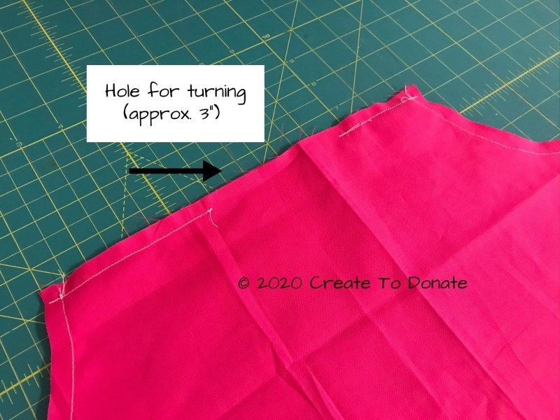 Leave turning hole for double mastectomy pillow