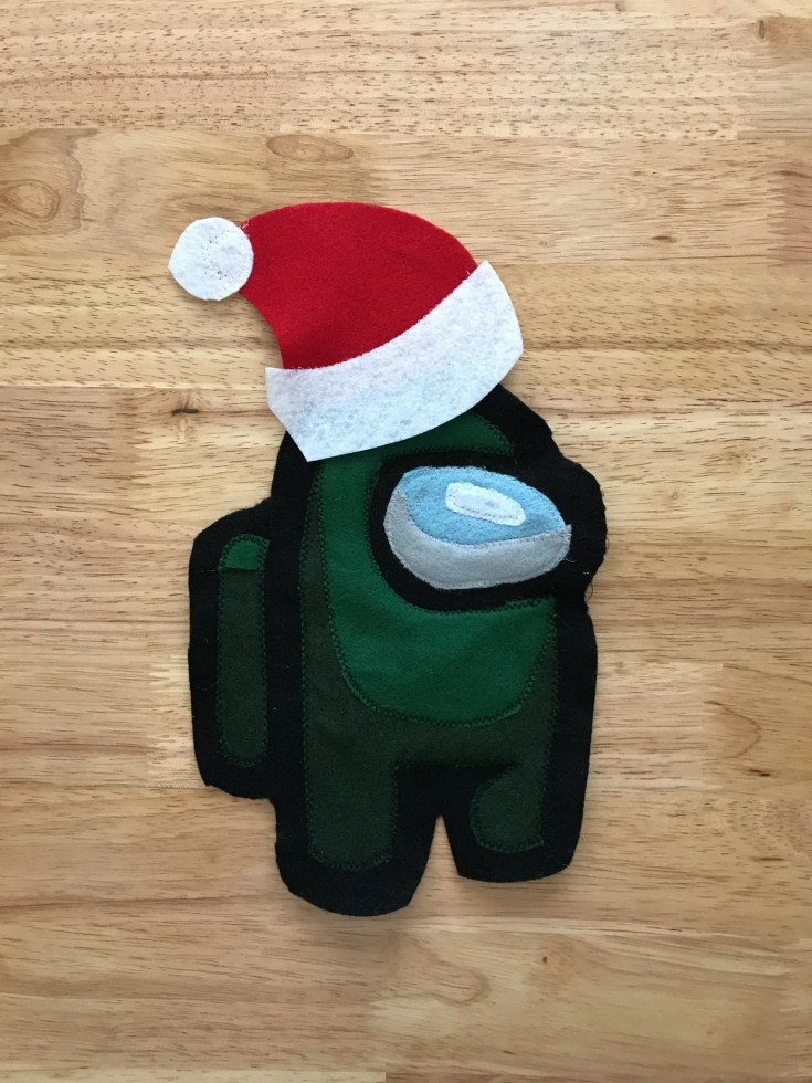 Among Us felt applique with Santa hat