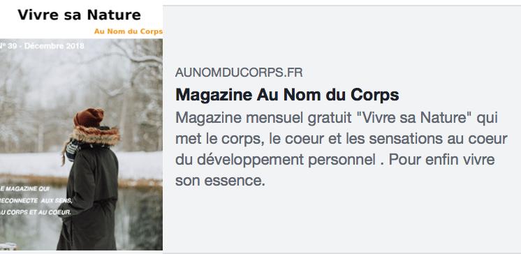 Couverture magazine Au nom du corps N.39
