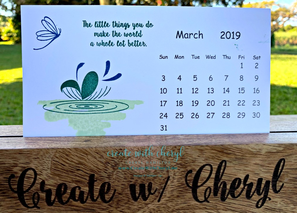 March Calendar #createwithcheryl #stampinup #peacefulreflection #calendar