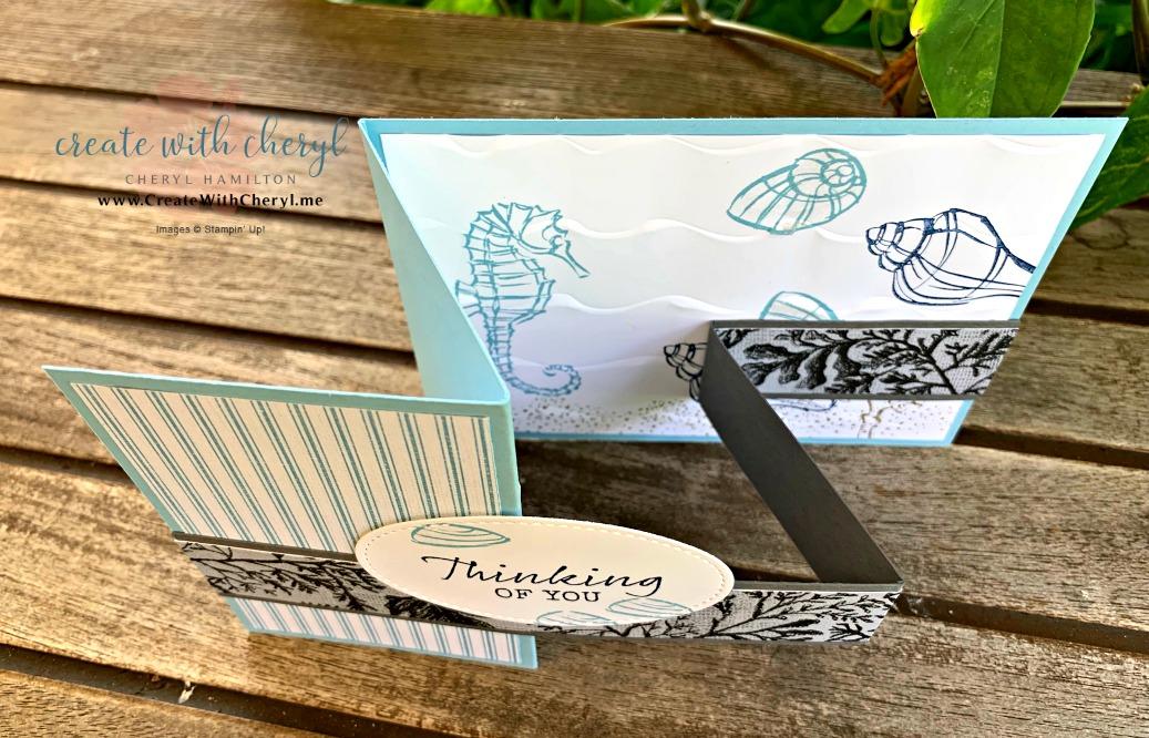#funfoldcard #createwithcheryl #cherylhamilton #islandhopping #seasidenotions #handmadecards