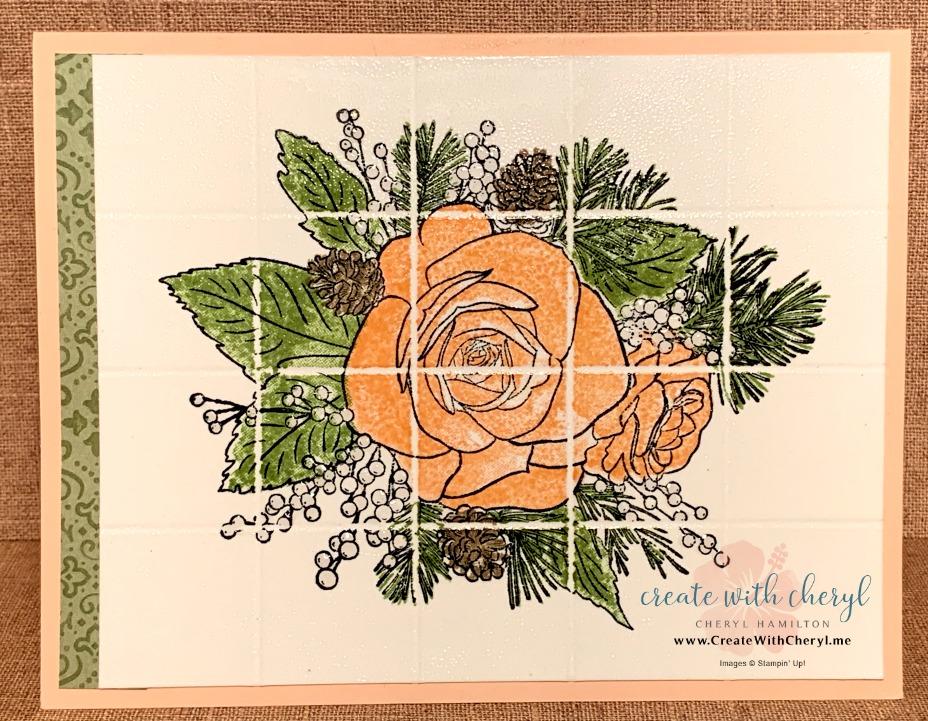 Delft Tile Technique using Christmas Rose! CreateWithCheryl.me #ChristmasRose #Delfttiletechnique #CreateWithCheryl