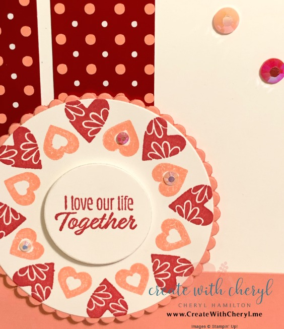 Stamping in the Round Technique #valentine #createwithcheryl #stampinup