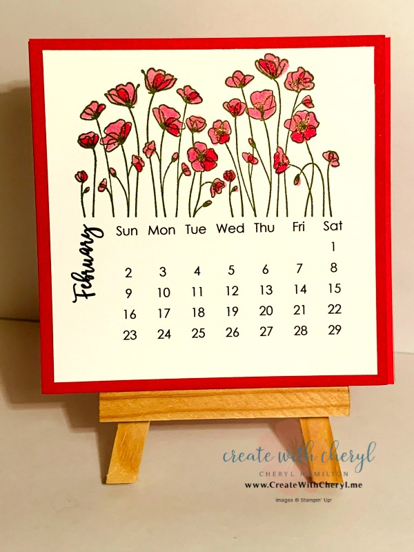 February 2020 Calendar#cherylhamilton #createwithcheryl #stampinup #rubberstamping #diy #crafts #papercrafting #handmadecards #papercrafter #craftblogger #simplestamping