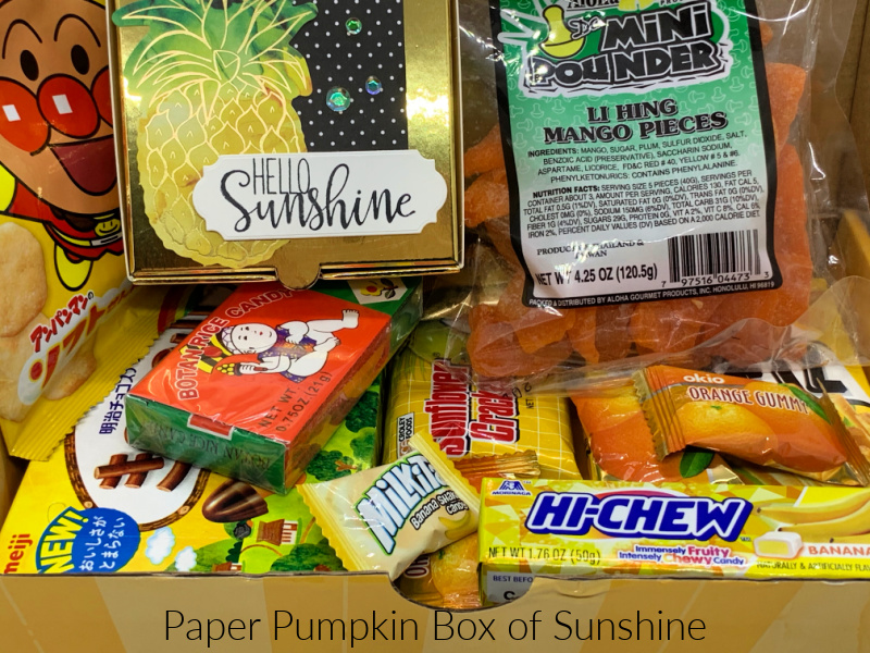 Paper Pumpkin Box of Sunshine Kit filled with Goodies