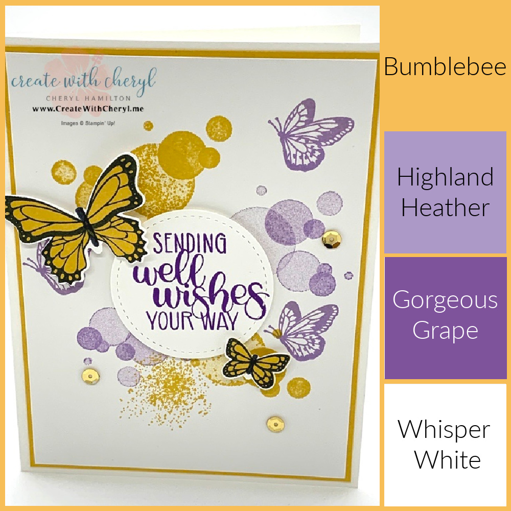 Butterfly purple and yellow handmade card