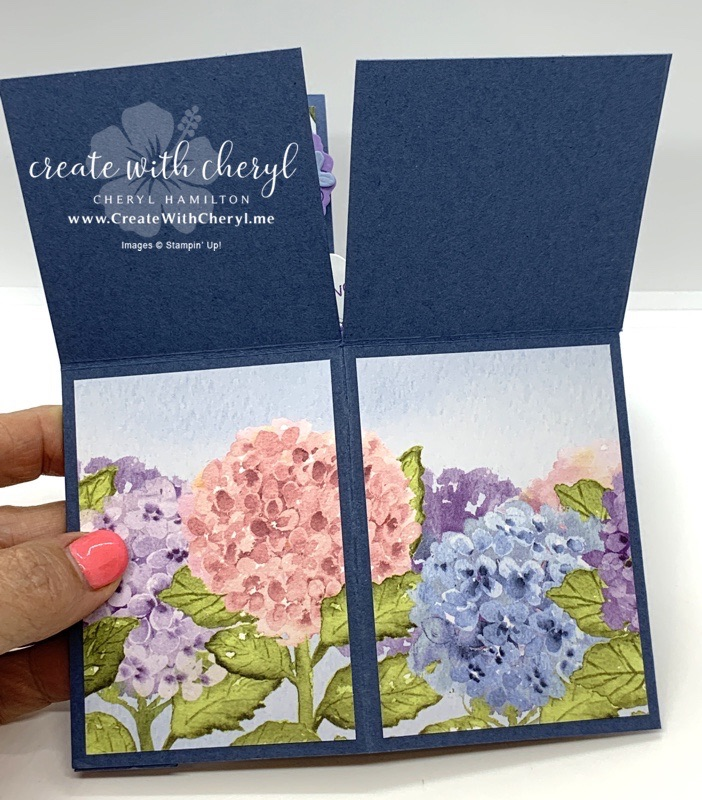 Hydrangea Haven Card in a Box Lies Flat for Mailing