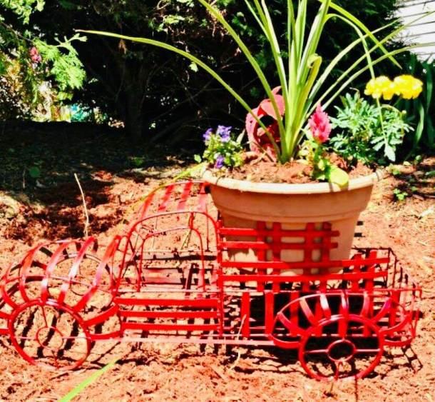Red Truck Floral Basket