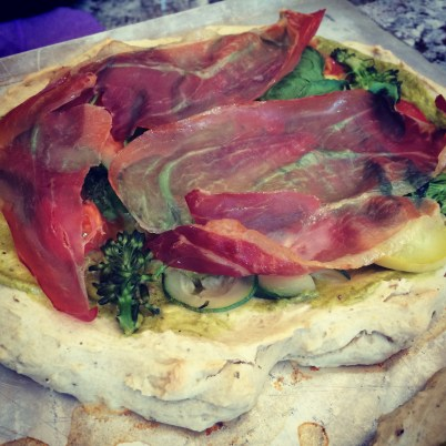 Healthy Pizza. Dairy and gluten free pizza with pesto sauce. Recipe by Katarina Arneric