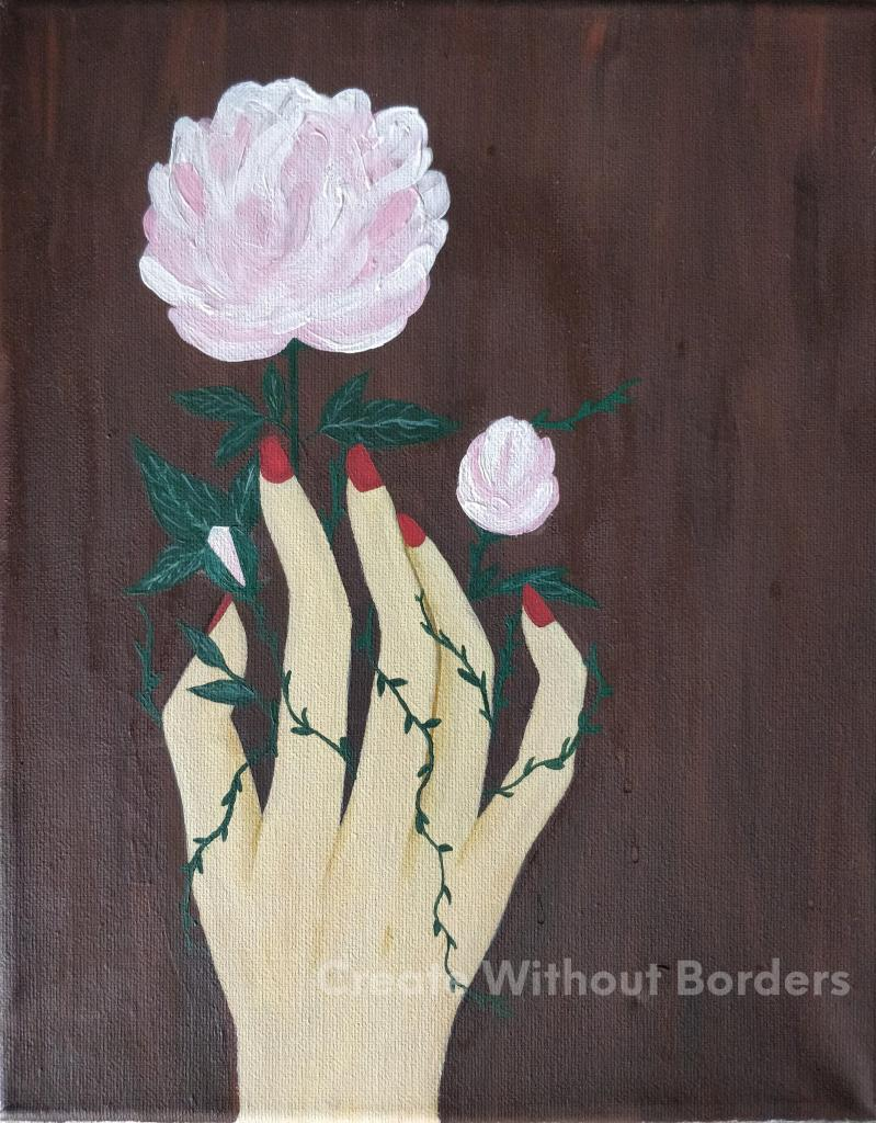 Entwined by Shahnaz, Afghanistan | Paintings by refugee artists