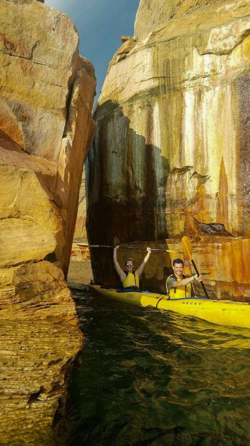 Kayaking through the Kissing Rocks in Pictured Rocks