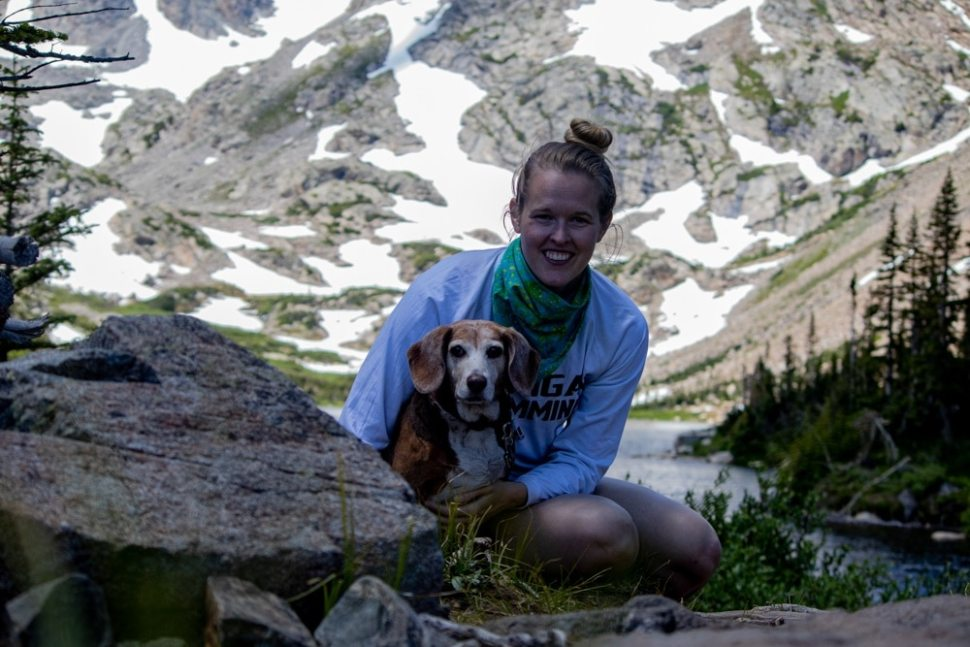 Beagle and Owner at Lake Isabelle in Indian Peaks Wilderness