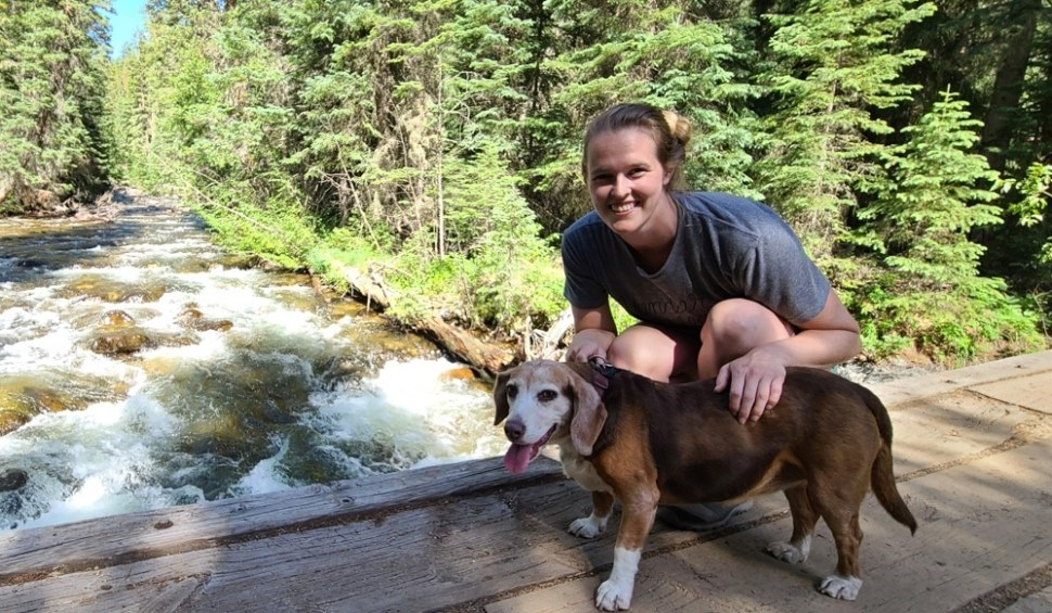 Beagle and Owner in Indian Peaks Wilderness