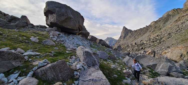 Hiking through boulders in the Wind River Range