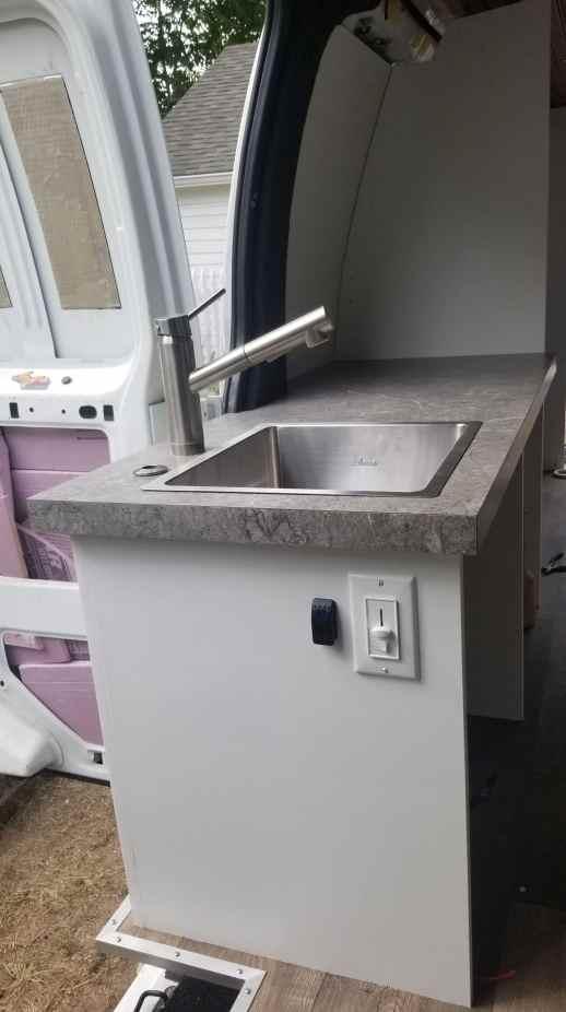 Sink installed in a campervan conversion