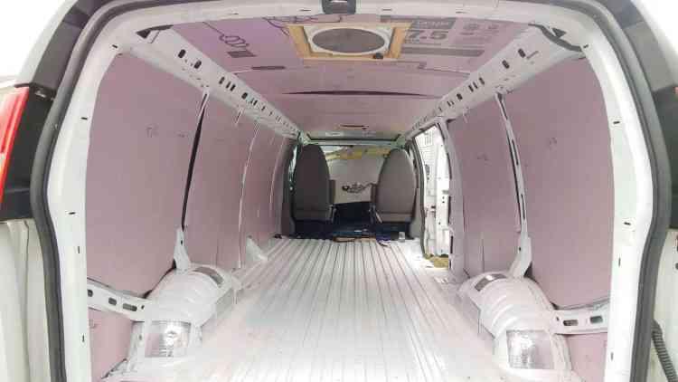 Rigid foam insulation in a campervan conversion