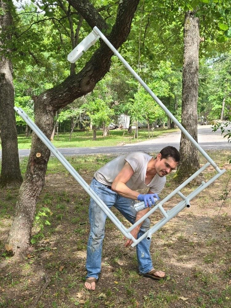 Painting custom welded hoop for bike rack