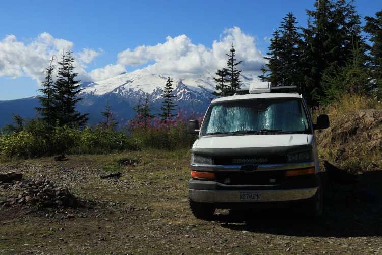Campervan boondocking near Mt. Baker