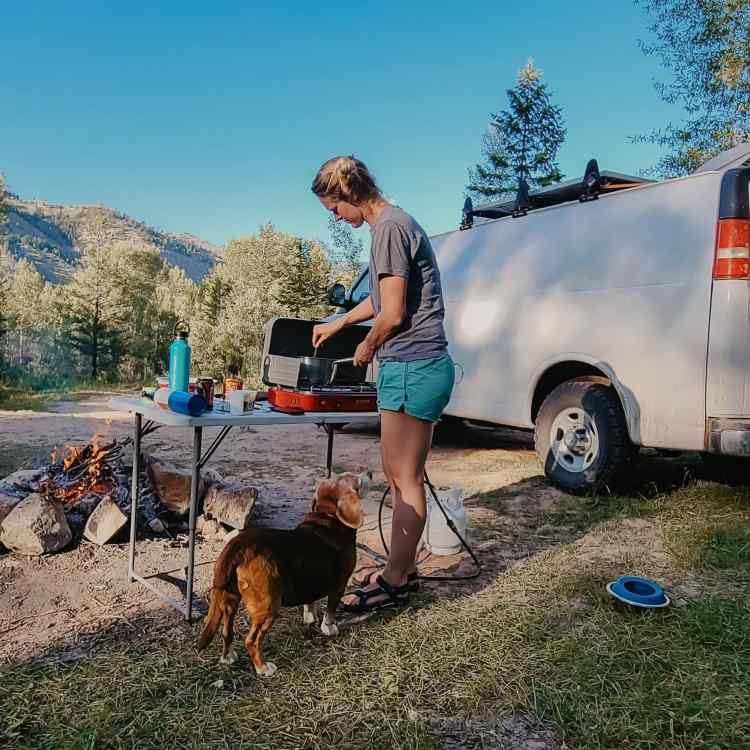 Cooking on a camp stove