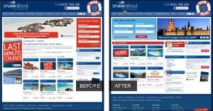 Cruiseabout homepage before and after
