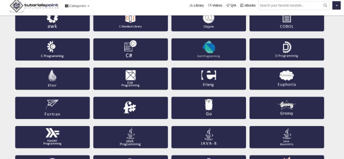 Free programming tutorials at TutorialsPoint