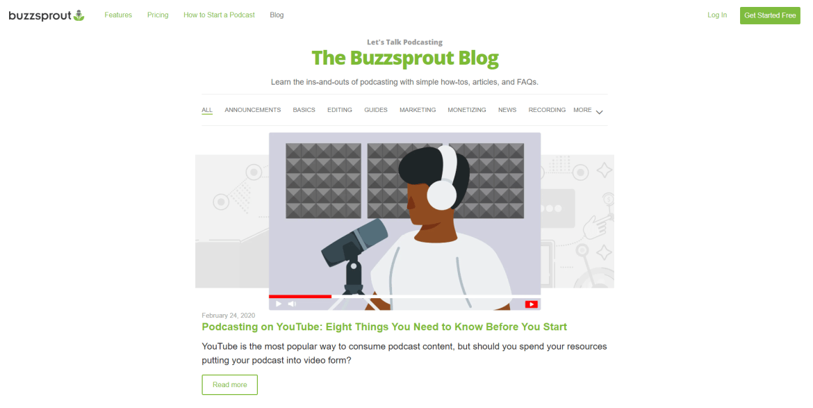 A picture of the Buzzsprout Blog with a video on it and categories