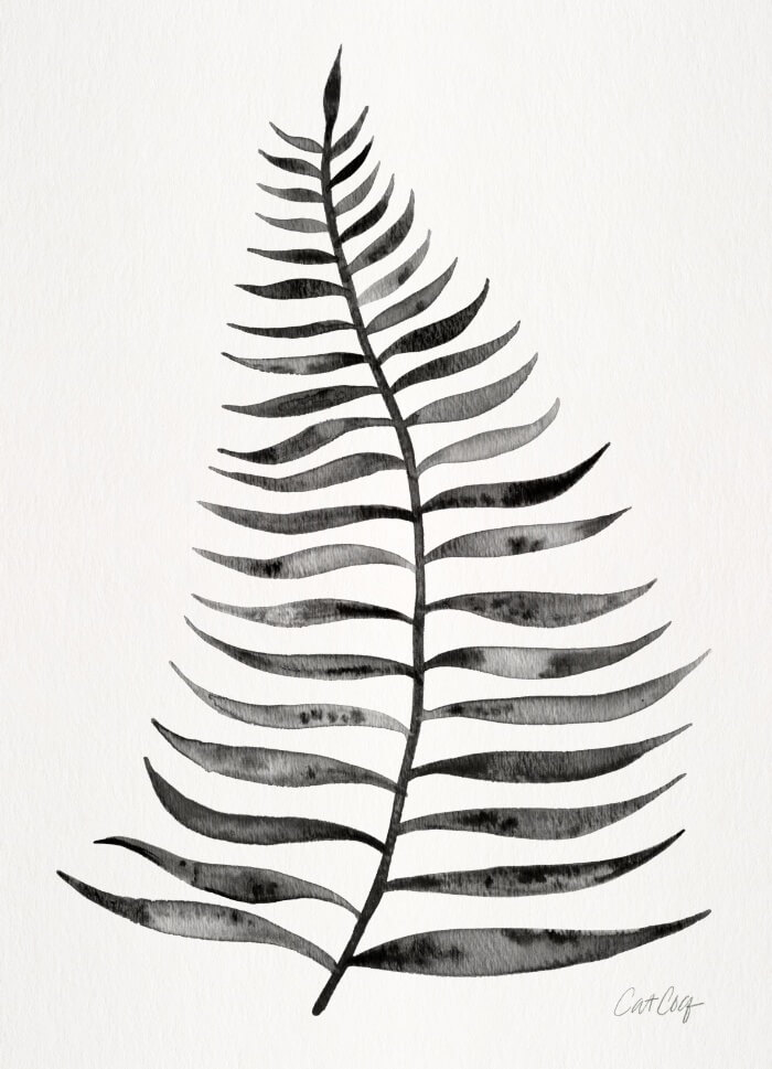 Learn How Artist Cat Coquillette Makes Passive Income With Her Art: Black Palm Leaf by Cat Coquillette