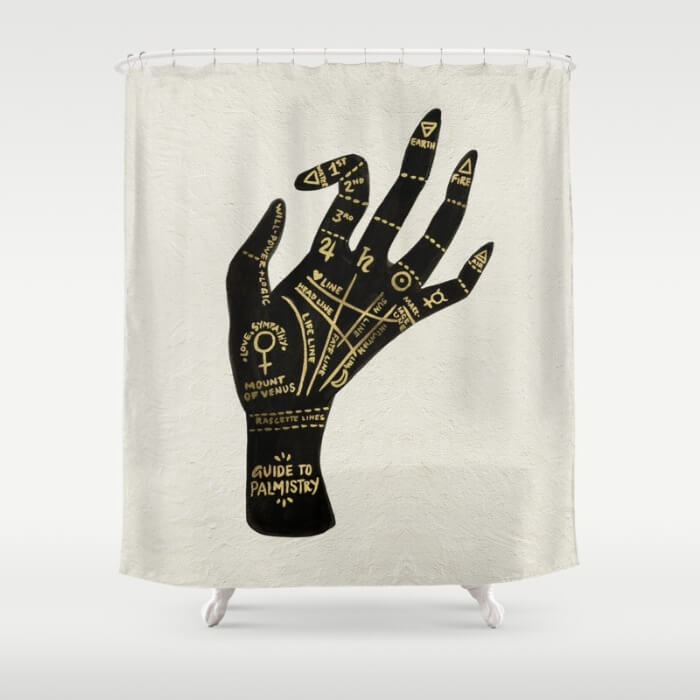 Learn How Artist Cat Coquillette Makes Passive Income With Her Art: Palmistry Shower Curtain by Cat Coquillette
