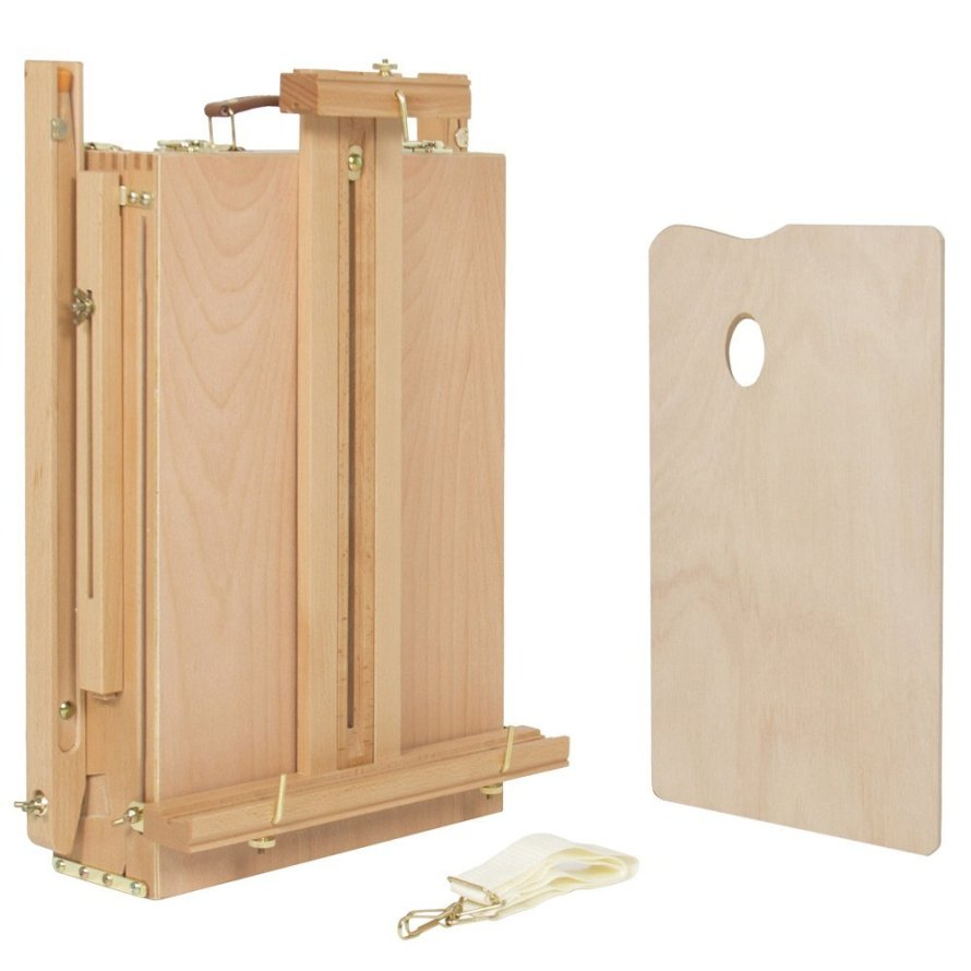 Olymstore French Easel Wooden Sketch Box Portable Folding Red Beech Art Artist Painters Tripod