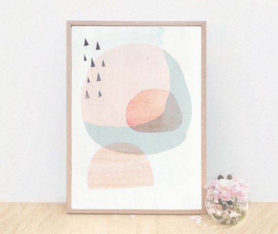 Abstract art you can buy on Etsy: Circles and Triangles - Peach by AMMIKI