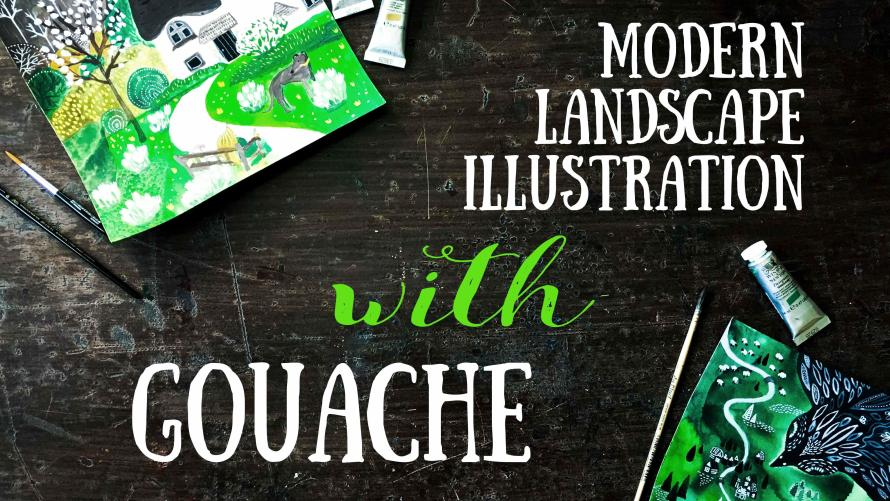 Free Class: Modern Landscape Illustration with Gouache Explore the Ways of Traditional Illustration III by Sova Huova