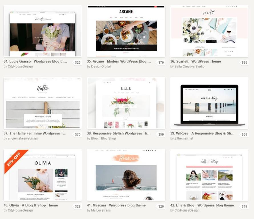 """Creative Market WordPress Themes from """"How to Start a Blog to Sell Your Art or Handmade Products"""" on CreatingBeautifully.com"""