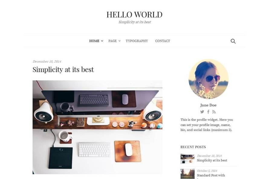 50 Modern, Minimal, Feminine WordPress Blog Themes: Hello World