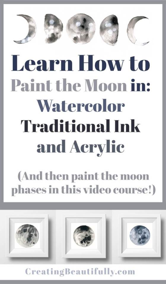 Learn How to Paint the Moon Phases in this Fun video class -- free for 2 months!