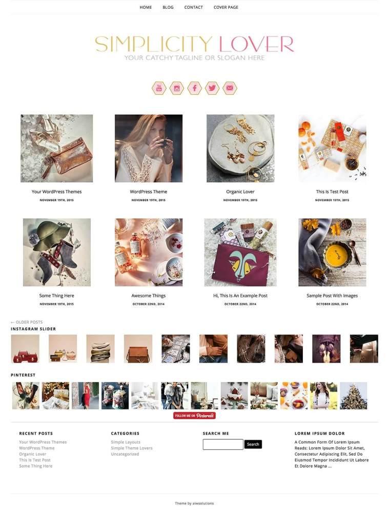 50 Modern, Minimal, Feminine WordPress Blog Themes: Simplicity Lover