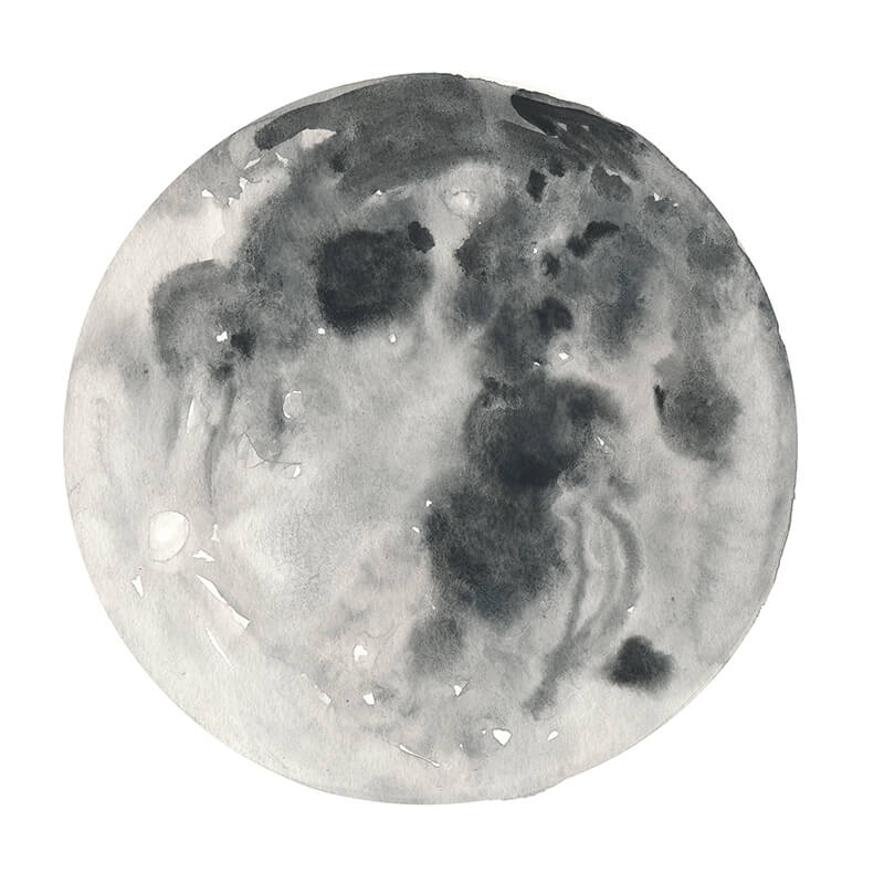 Practice moon in watercolor: an example fromLearn How to Paint the Moon Phases by Jules Tillman (take this video class FREE for the next two months!)