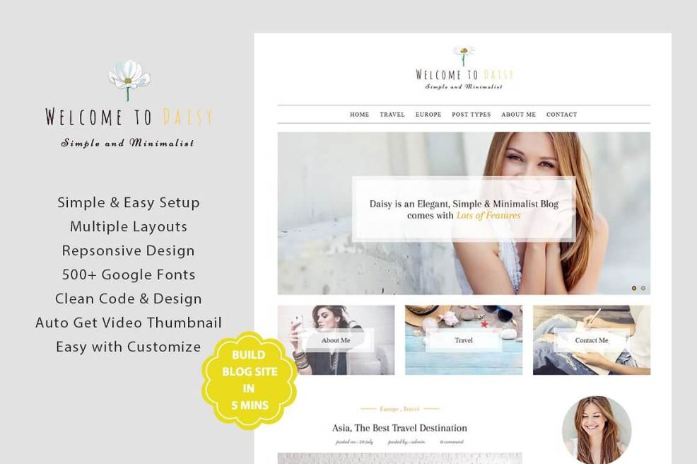 50 Modern, Minimal, Feminine WordPress Blog Themes: Daisy