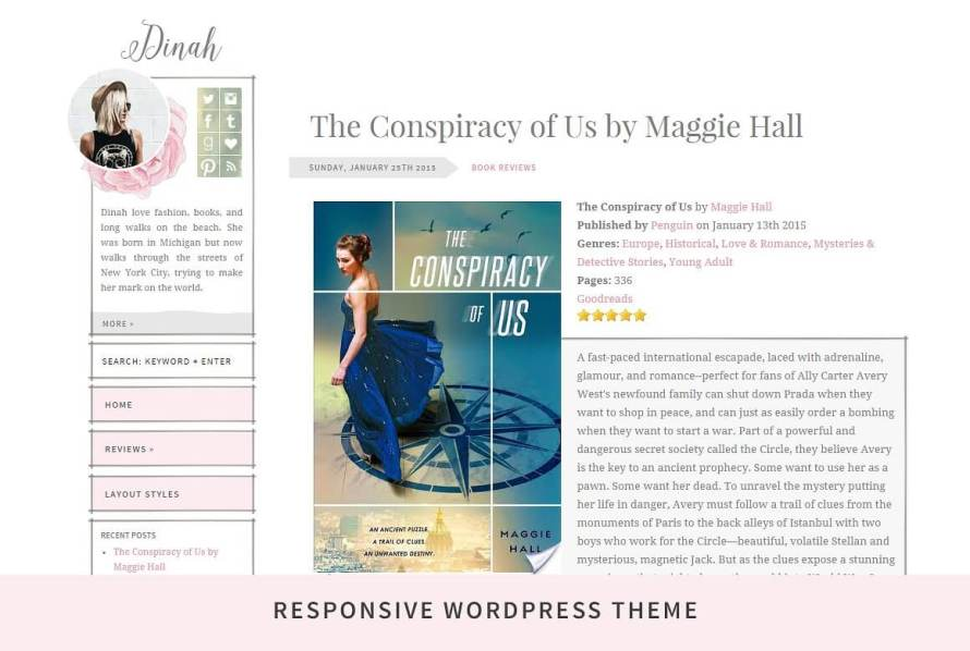 50 Modern, Minimal, Feminine WordPress Blog Themes: Dinah