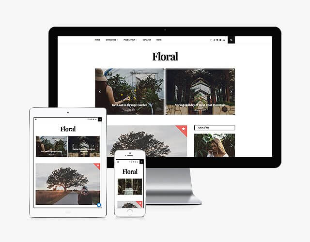 50 Modern, Minimal, Feminine WordPress Blog Themes: Floral