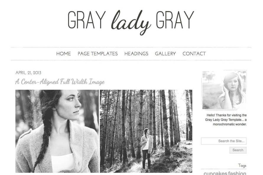 50 Modern, Minimal, Feminine WordPress Blog Themes: Gray Lady Gray